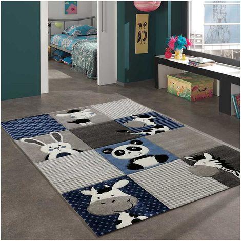 Tapis enfant cm Carré ZOO Bleu Chambre adapté au chauffage par le sol