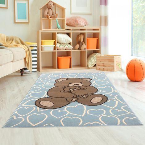 Tapis enfant cm Rectangulaire BC OURS CŒUR Bleu Chambre adapté au chauffage par le sol