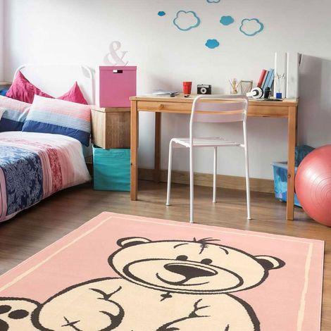 Tapis enfant cm Rectangulaire BC OURSY Rose Chambre adapté au chauffage par le sol
