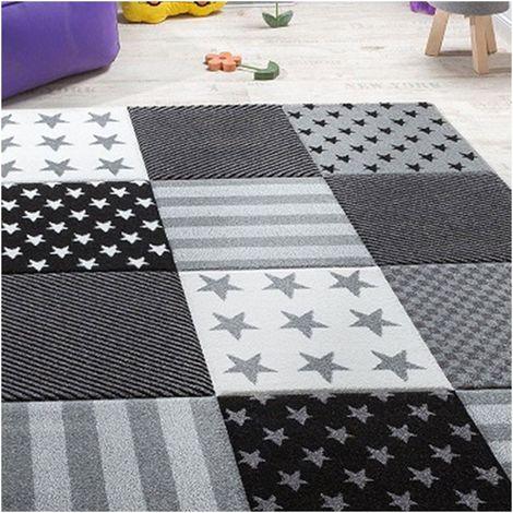 Tapis enfant cm Rectangulaire FLAG START Gris Chambre adapté au chauffage par le sol