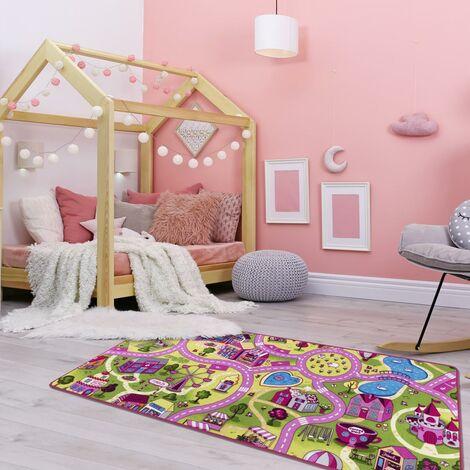 Tapis enfant cm Rectangulaire PINKROAD2 Rose Chambre Tufté adapté au chauffage par le sol