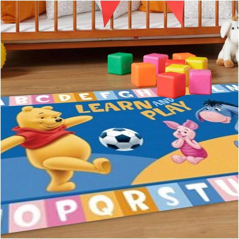 Tapis enfant cm Rectangulaire WINNIE L'OURSON LEARN AND PLAY Bleu Chambre adapté au chauffage par le sol