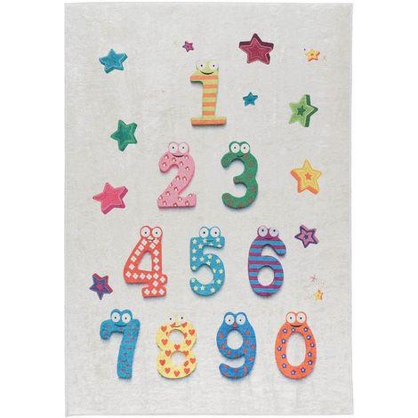 Tapis enfant crème plat lavable en machine Numbers Crème 160x230