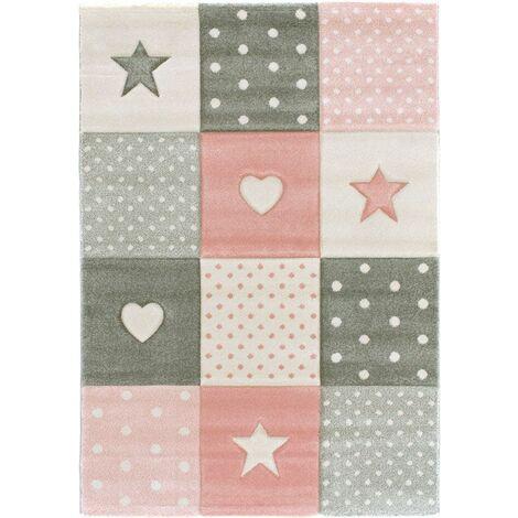 Tapis enfant fille - Étoile et coeur - Rose pastel gris crème - 120 x 170 cm