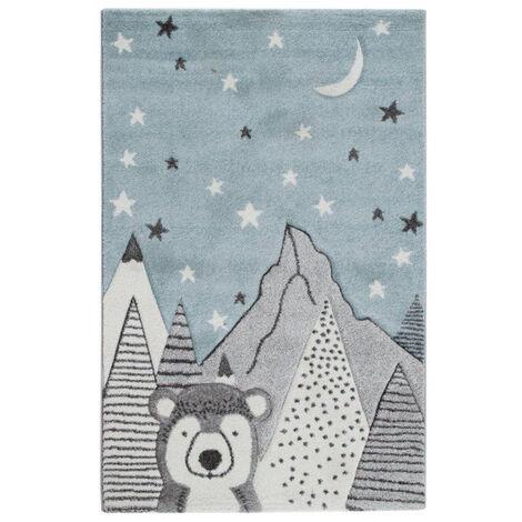 Tapis enfant motif ours gris et bleu 100 x 150 cm TITI