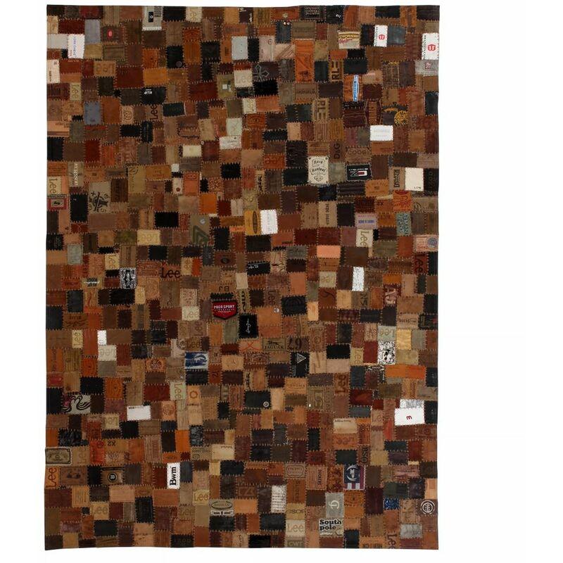 Youthup - Tapis étiquette en cuir véritable de jeans 80 x 150 cm Marron