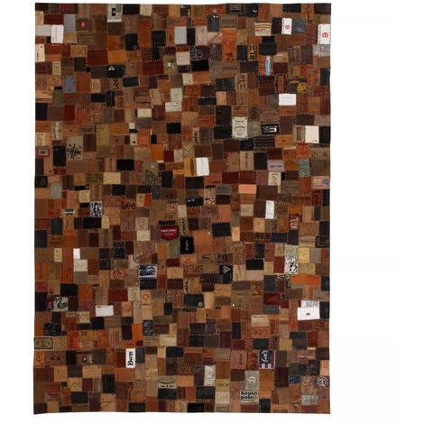 Tapis etiquette en cuir veritable de jeans 80 x 150 cm Marron