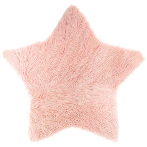 Tapis étoile fausse fourrure rose - Rose