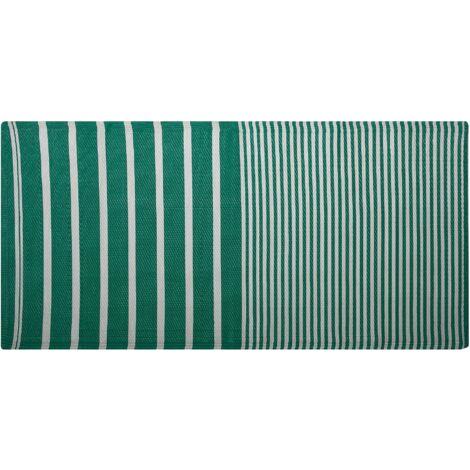 Tapis extérieur à rayures vertes 90 x 180 cm HALDIA