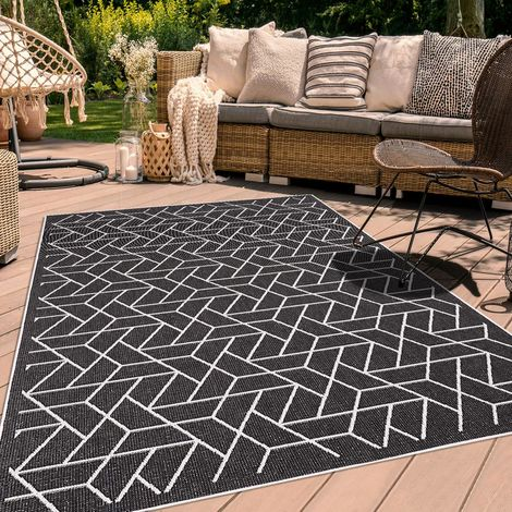Tapis exterieur cm Rectangulaire AF BRIKA REVERSIBLE Noir Terrasse, jardin adapté au chauffage par le sol
