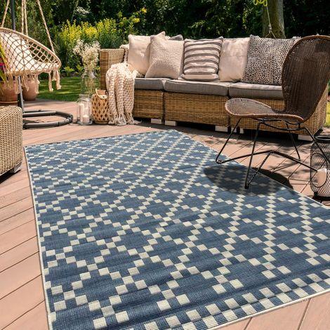 Tapis exterieur cm Rectangulaire BC GEA REVERSIBLE Bleu Terrasse, jardin adapté au chauffage par le sol