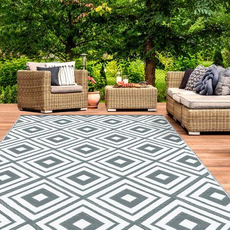 Tapis extérieur ELMA géométrique gris et blanc 160x260 cm
