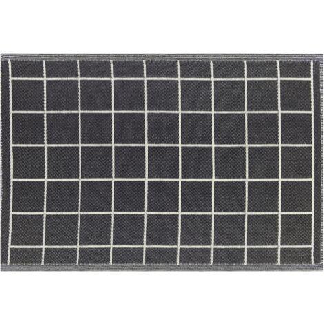 Tapis extérieur noir au motif à carreaux 120 x 180 cm RAMPUR