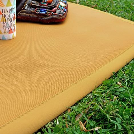 Tapis extérieur PVC tressé - Moutarde