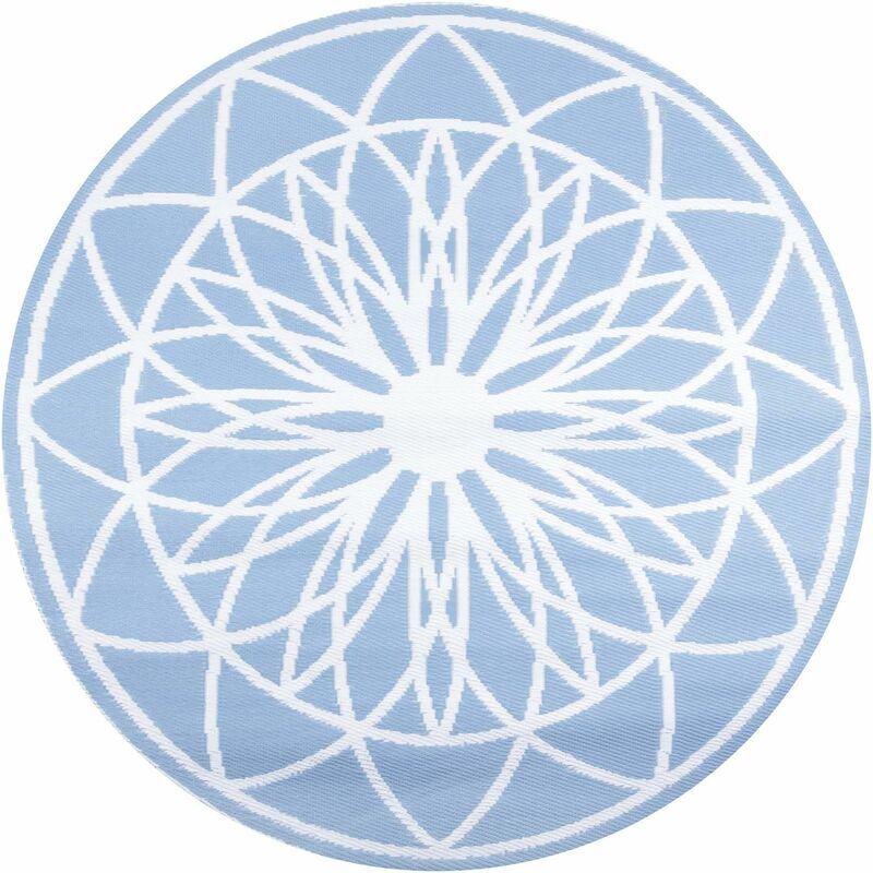 Tapis extérieur rond en polypropylène Fairytale bleu clair - Bleu clair