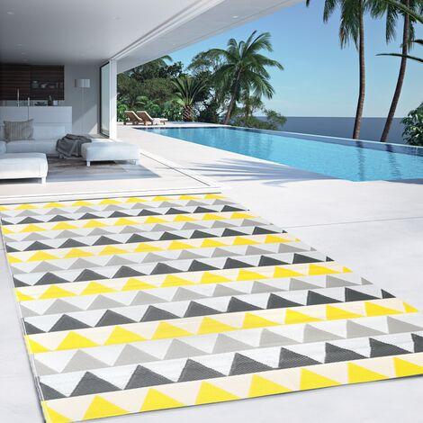 Tapis extérieur SARI triangles gris et jaune 160x260 cm