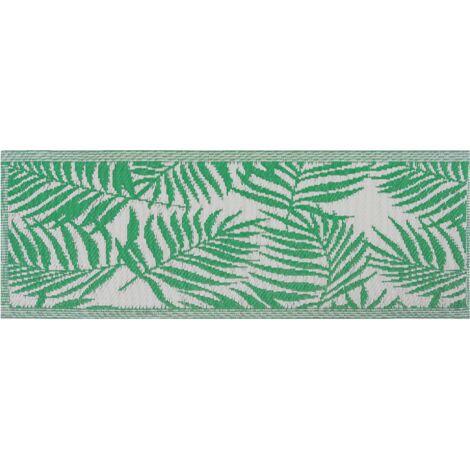 Tapis extérieur vert au motif feuilles de palmier 60 x 105 cm KOTA