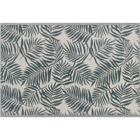 Tapis extérieur vert foncé au motif feuilles de palmier 180 x 270 cm KOTA