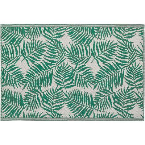 Tapis extérieur vert menthe au motif feuilles de palmier 120 x 180 cm KOTA