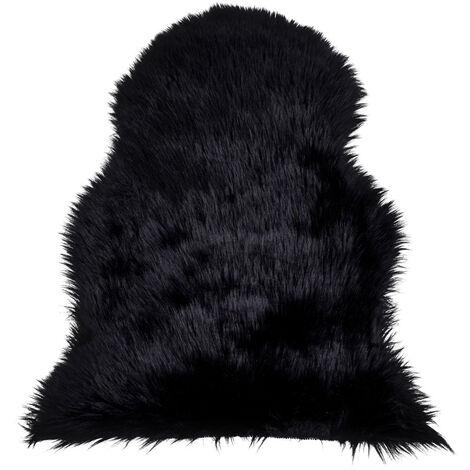 Tapis fausse fourrure 50x85 cm noir - Noir