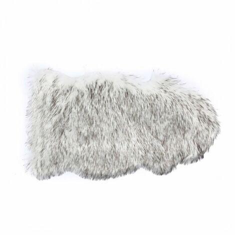 Tapis fausse fourrure Shaggy 50x90 cm gris blanc - Blanc