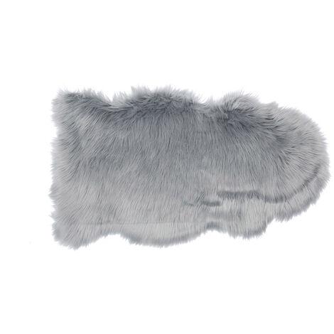 Tapis fausse fourrure Shaggy 50x90 cm gris - Gris
