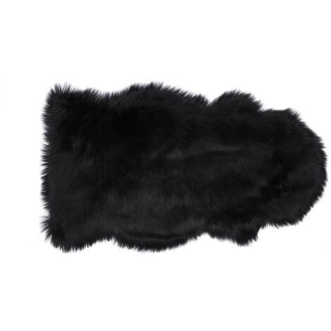 Tapis fausse fourrure Shaggy 50x90 cm noir - Noir