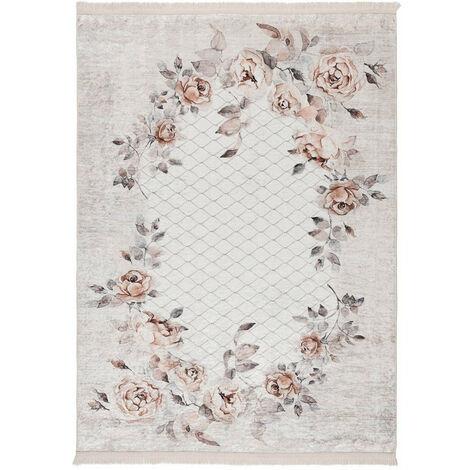 Tapis floral baroque taupe lavable en machine avec franges Herve Vison 120x170