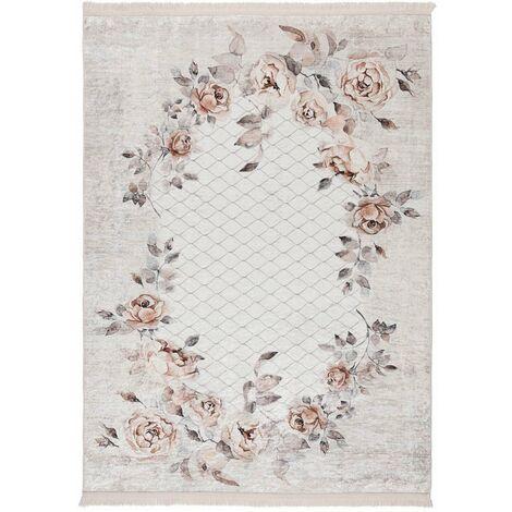 Tapis floral baroque taupe lavable en machine avec franges Herve Vison 80x300