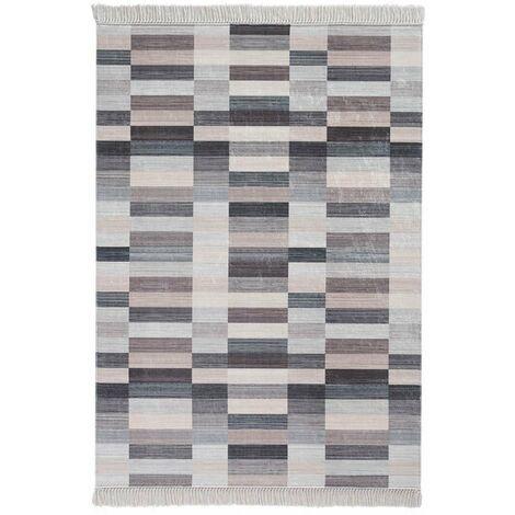 Tapis géométrique design lavable en machine beige Grammont Beige 80x150