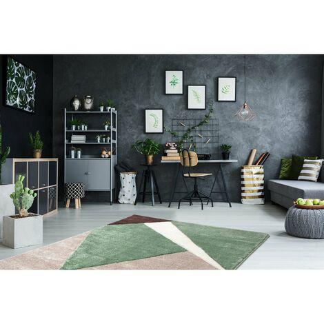 Tapis géométrique pour salon moderne Viki Vert 80x150 - Vert
