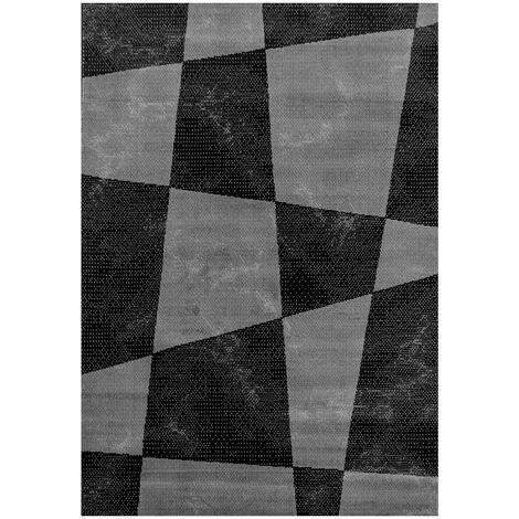 Tapis graphique à courtes mèches design Cayuga Noir 80x150 - Noir