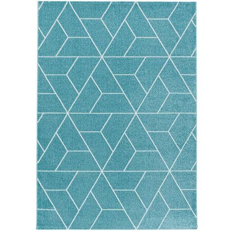 Tapis graphique de salon scandinave Linotte Bleu 80x150 - Bleu