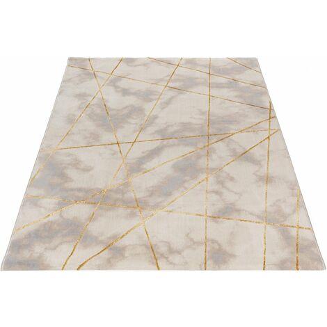 Tapis graphique effet marbre brillant moderne Gondo Or 120x170 - Or
