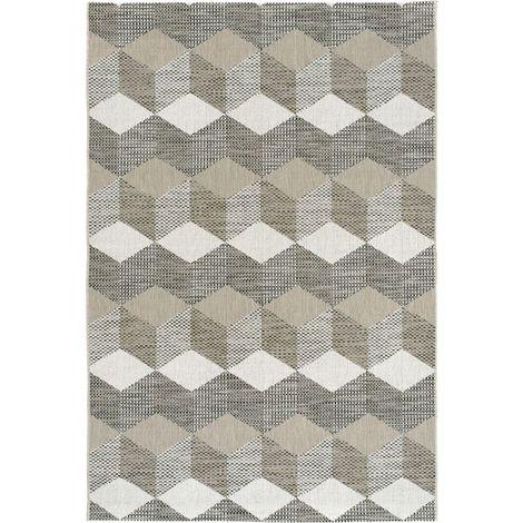 Tapis graphique Essenza Marron - Cubes 3D - 200 x 290 cm
