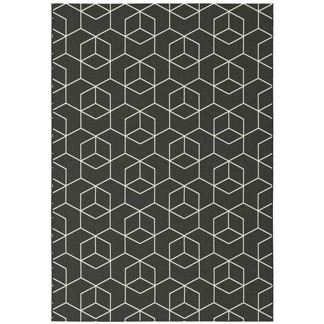 Tapis Graphique Essenza Noir - Cubes 3D
