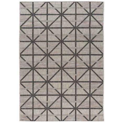 Tapis graphique gris intérieur et extérieur design Firoz Gris 80x150 - Gris