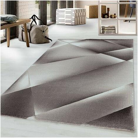 Tapis graphique moderne à courtes mèches Fauvette Marron 80x150 - Marron