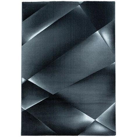 Tapis graphique moderne à courtes mèches Fauvette Noir 80x150 - Noir