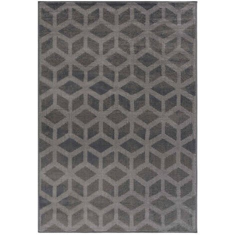 Tapis graphique rectangle scandinave intérieur Garret Gris 80x150 - Gris