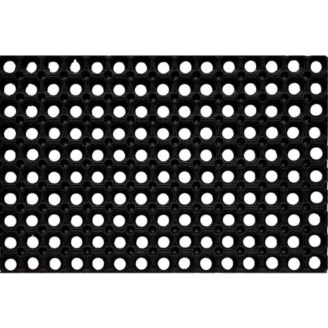 Tapis gratte-pieds extérieur caillebotis en caoutchouc - Dim : 40 x 60 cm - PEGANE -
