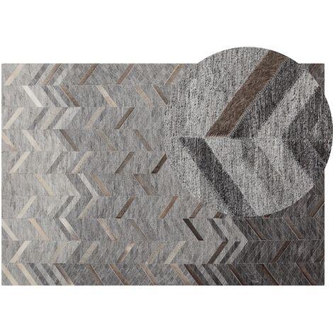 Tapis gris en cuir et viscose 140 x 200 cm ARKUM