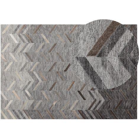 Tapis gris en cuir et viscose 160 x 230 cm ARKUM