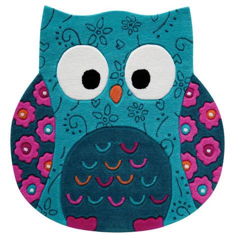 Tapis hibou en acrylique Littel Owl Turquoise 100x100