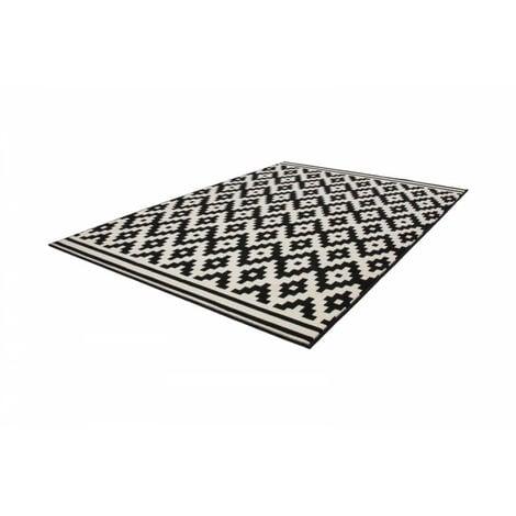 Tapis HUNDIE Noir / Blanc 80cm x 150cm - Noir