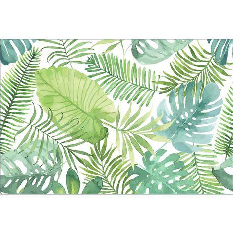 Tapis intérieur extérieur feuilles tropicales 60 x 90 cm