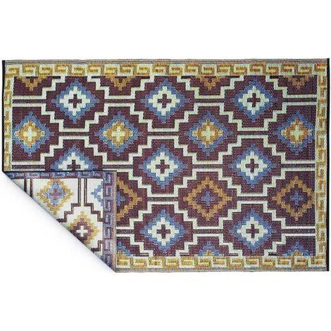 Tapis intérieur extérieur Lhasa bleu roi et chocolat 180 x 120 cm - Bleu roi