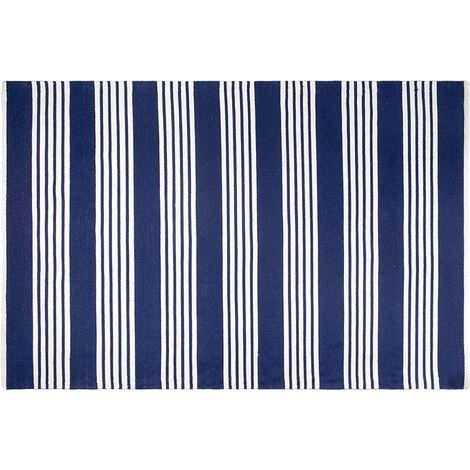 Tapis intérieur extérieur Mariona Stripe bleu et blanc 90 x 60 cm - Bleu