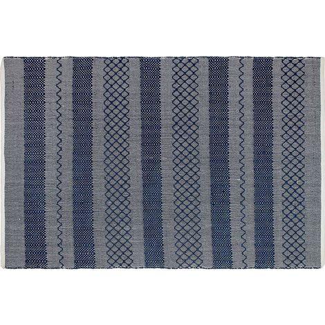 Tapis intérieur extérieur Mir bleu 90 x 60 cm - Bleu