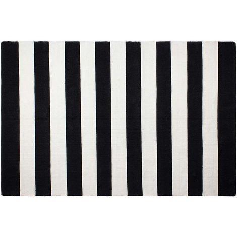 Tapis intérieur extérieur Nantucket noir et blanc 270 x 180 cm - Noir